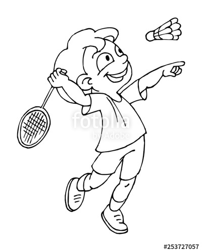 Boy playing badminton, children sports, black and white clipart.