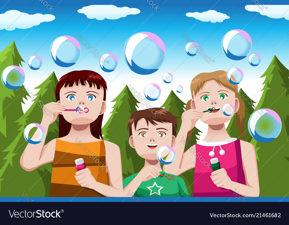 Kids blowing bubbles.