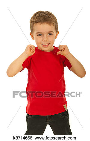 Child boy pointing to his t.