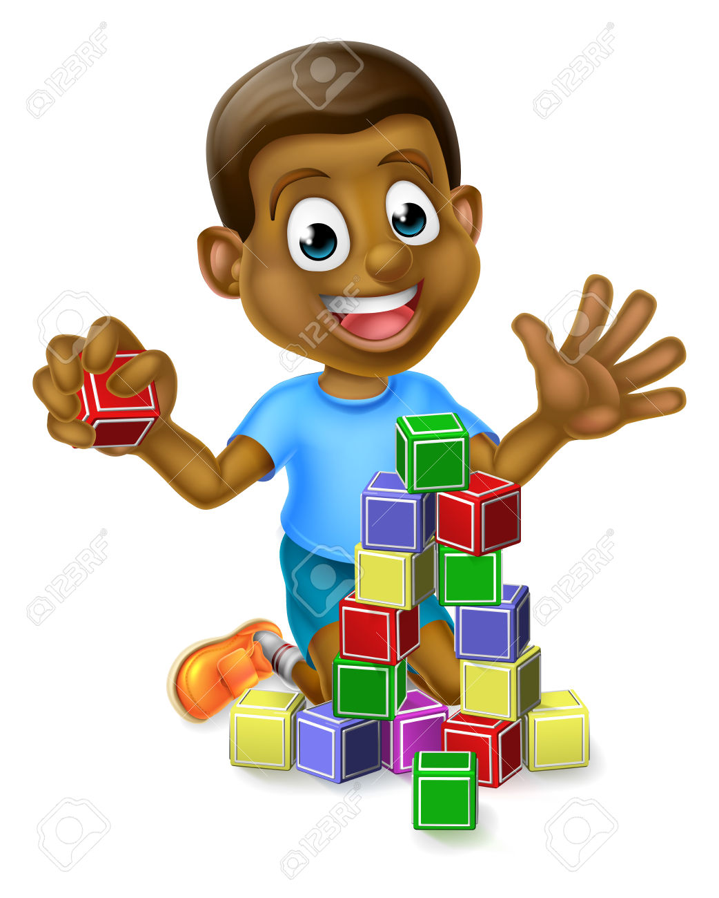 A Happy Cartoon Black Boy Child Kid Playing With Building Or.