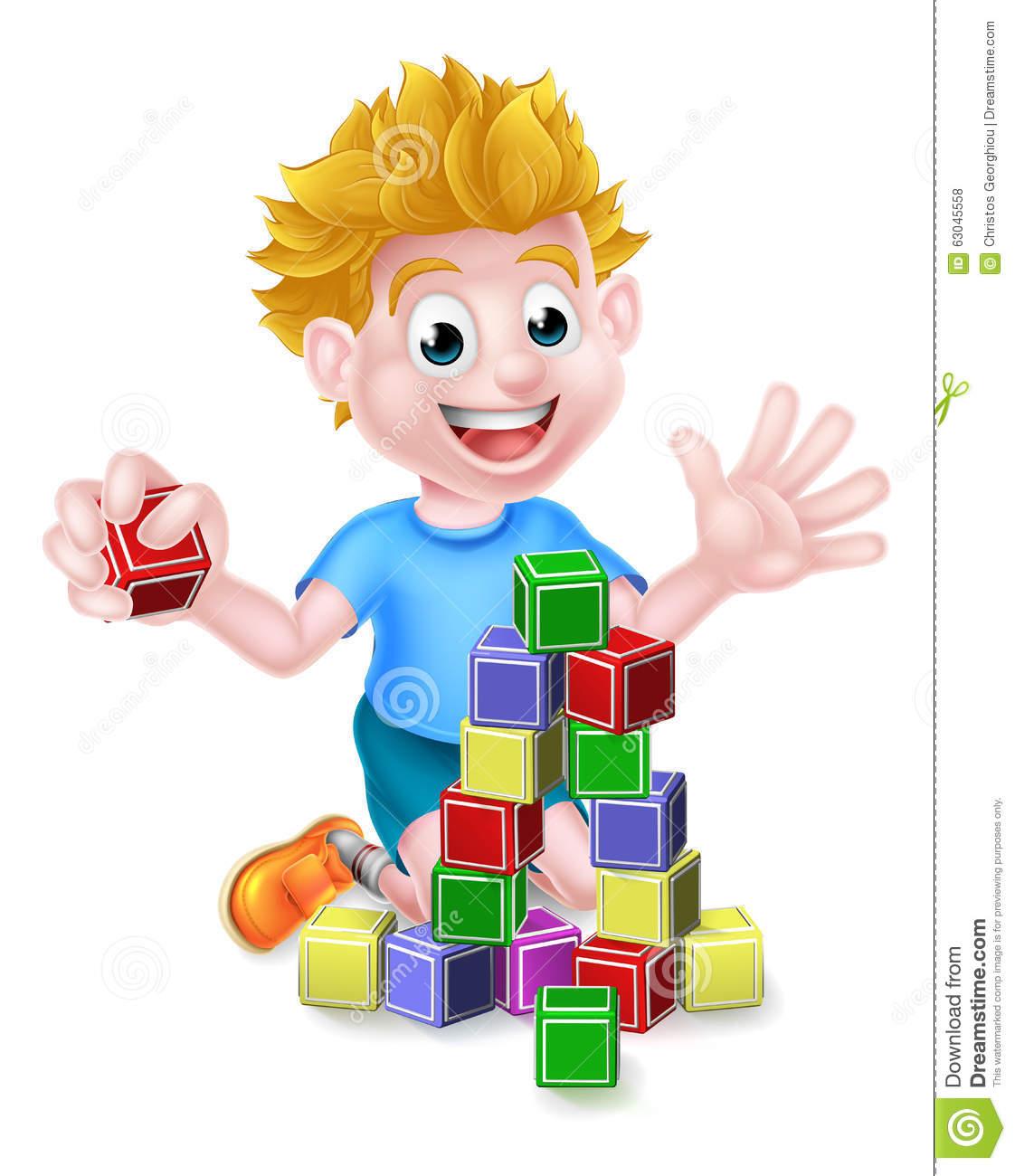 Cartoon Boy Playing With Building Blocks Stock Vector.
