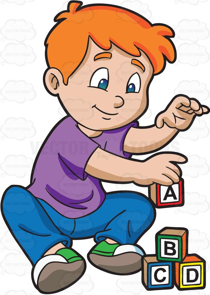 A Young Boy Building Alphabet Blocks.