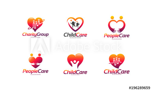 Set of Charity Group logo designs concept, Child Care logo.