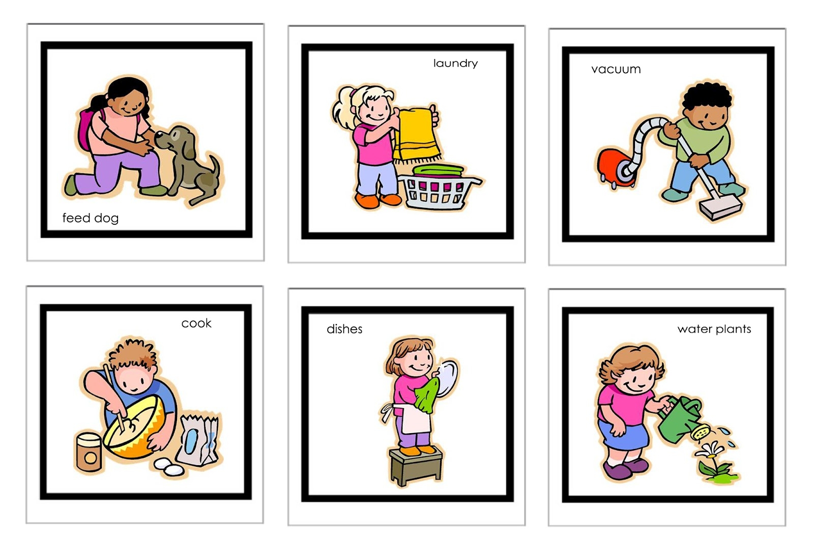 House Chores For Kids Clipart.