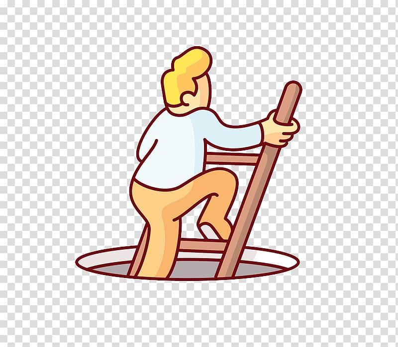 Google Allo Illustration, Climbing stairs transparent.