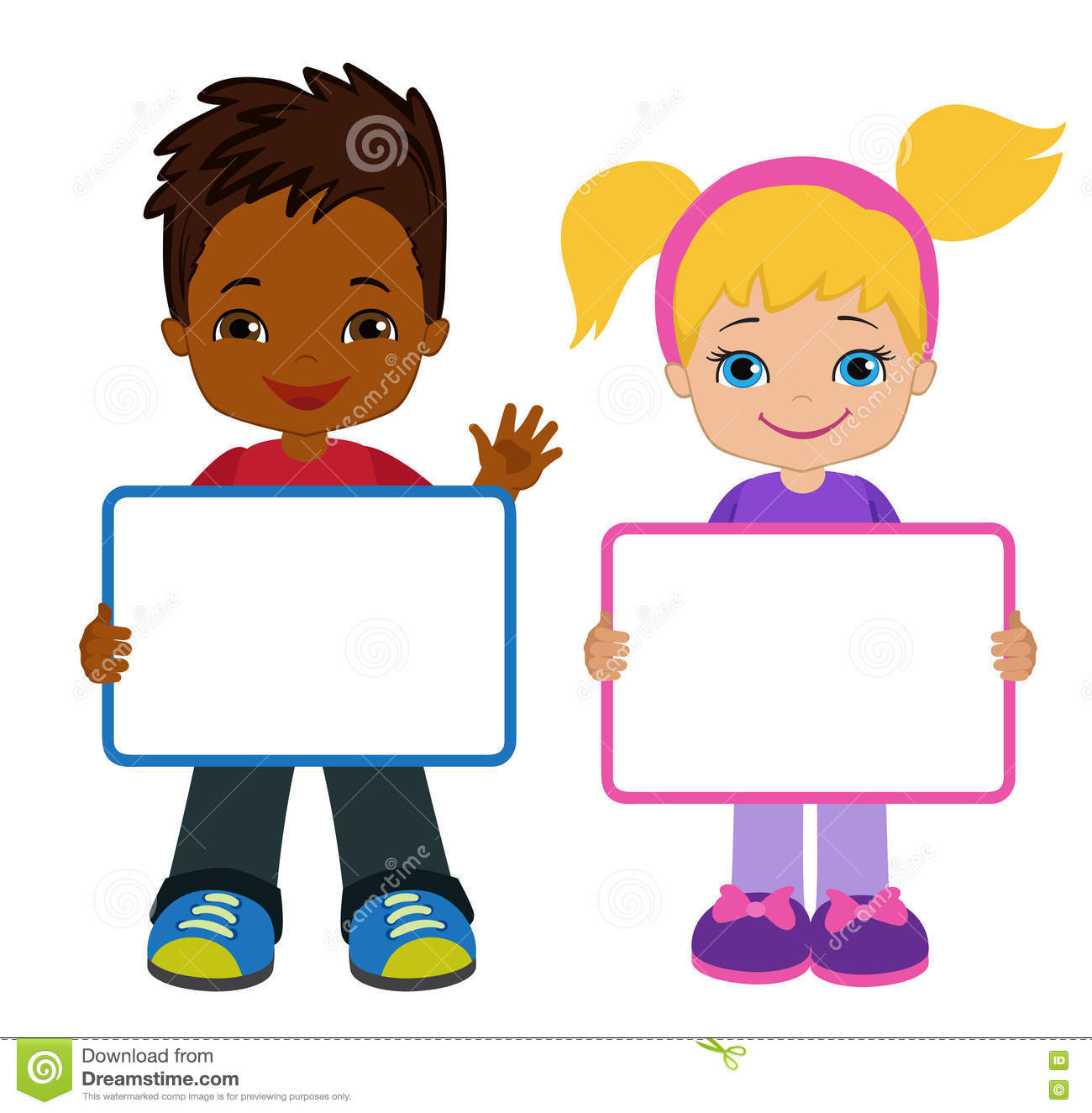 Kids With Signs. Bricht Kids. Frame Board. Clipart. Child Meeting.