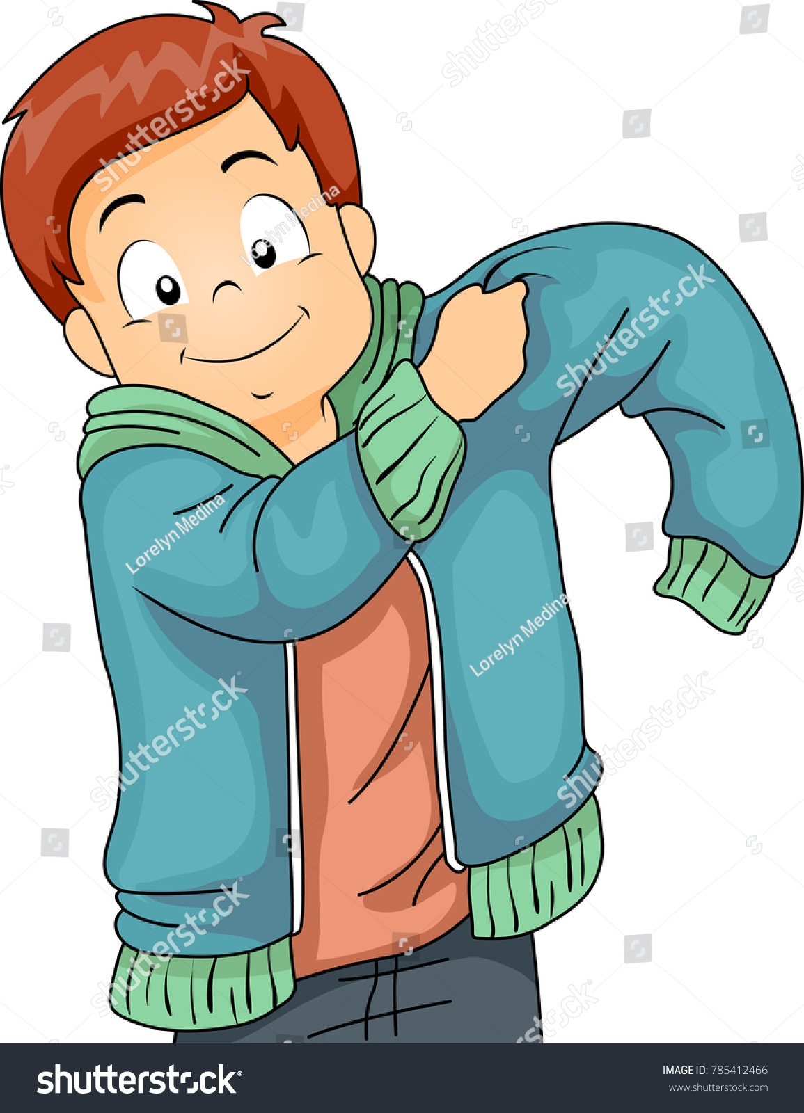 Illustration Kid Boy Putting On Jacket Stock Vector (Royalty Free.