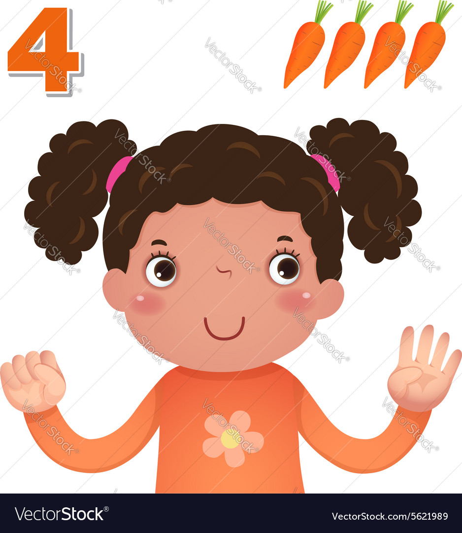 Learn number and counting number four.