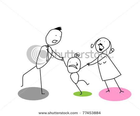 Art Picture of a Child's Drawing with the Mother and Father.