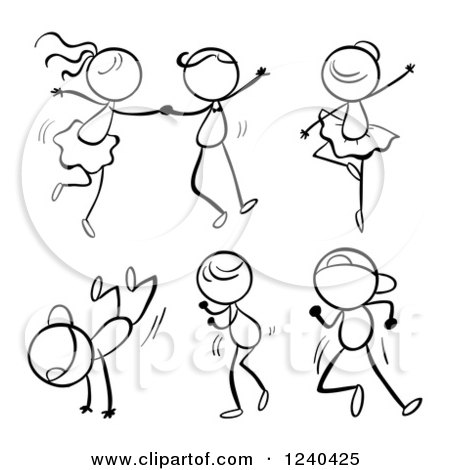 Clipart of a Black and White Stick Children Dancing.