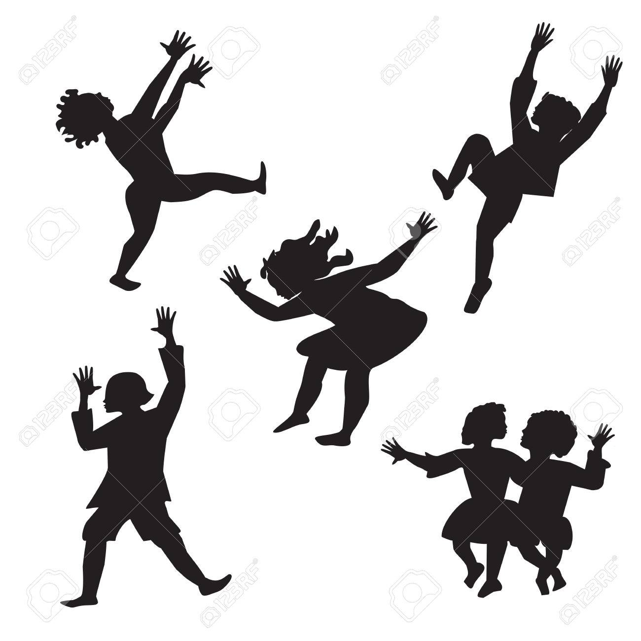 children dancing black and white silhouette isolated abstract...