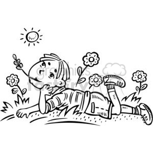 boy daydreaming in a field clipart. Royalty.