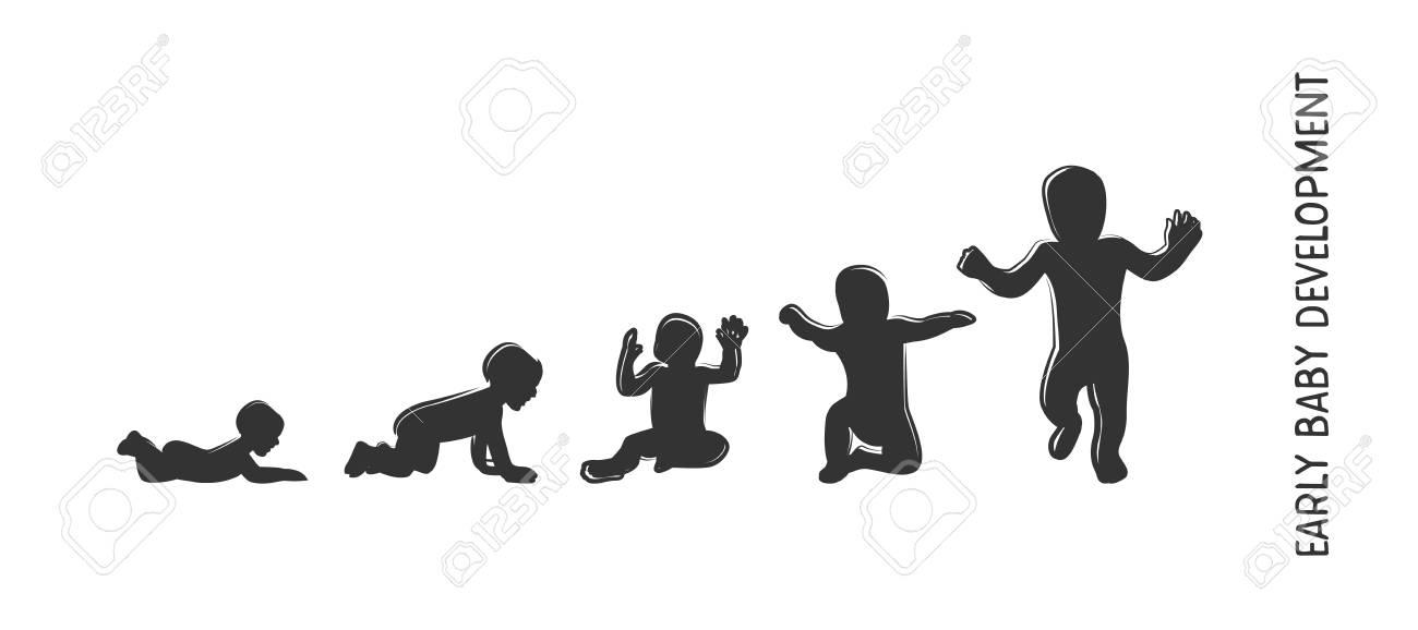 Baby development icon, child growth stages. toddler milestones...