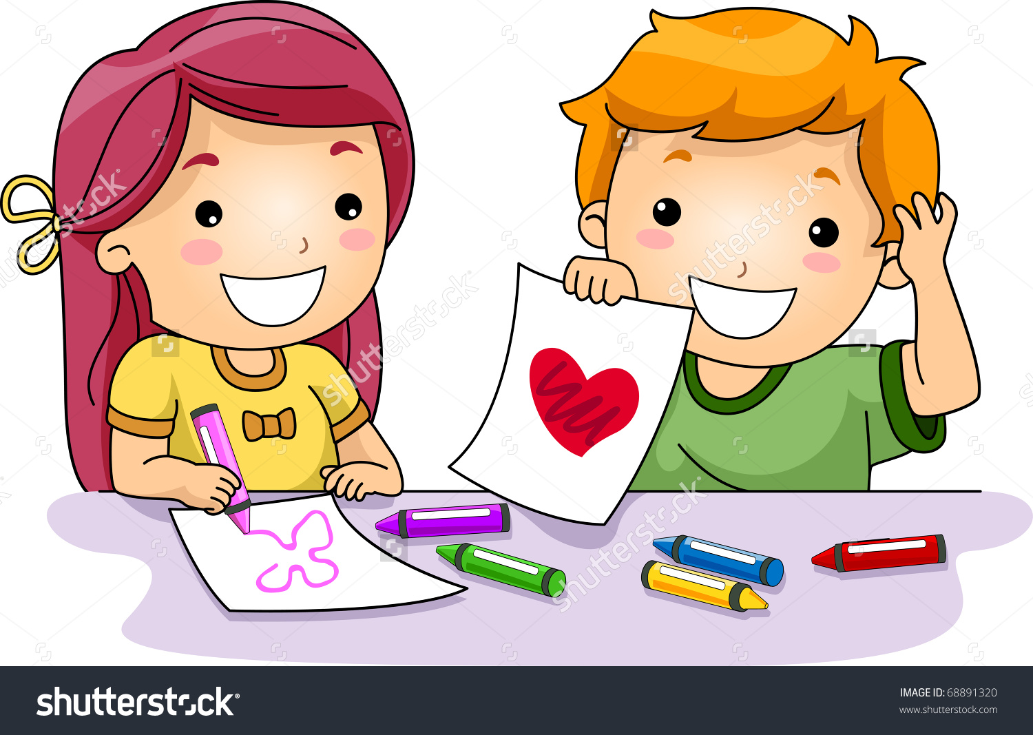 Illustration Kids Drawing Valentinerelated Things Stock Vector.