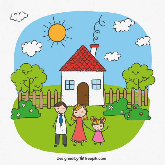 Child drawing of a happy family Vector.