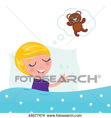 Cute blond child sleeping and dreaming about Teddy Bear Clipart.