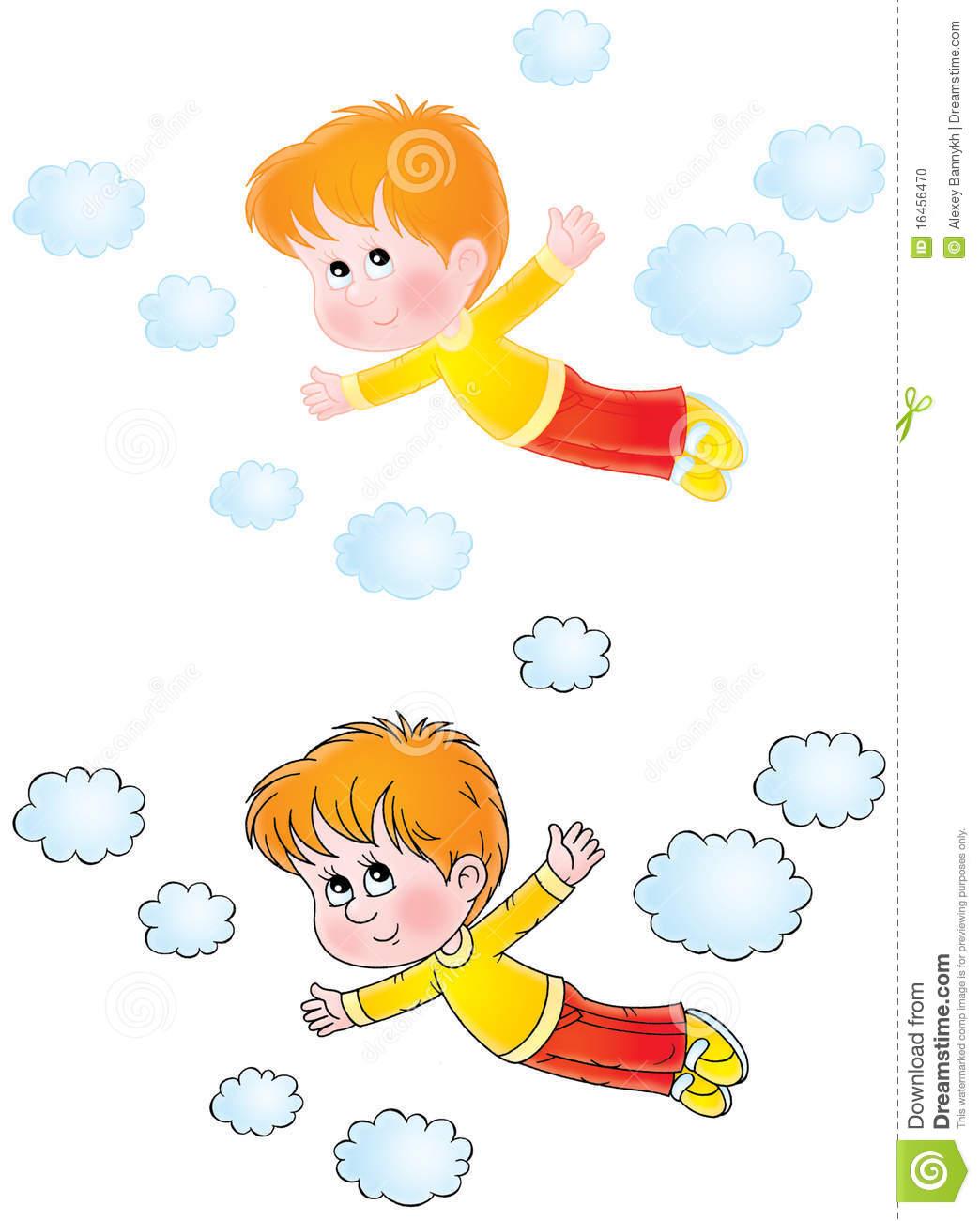 Boy flying in dreams stock illustration. Illustration of children.