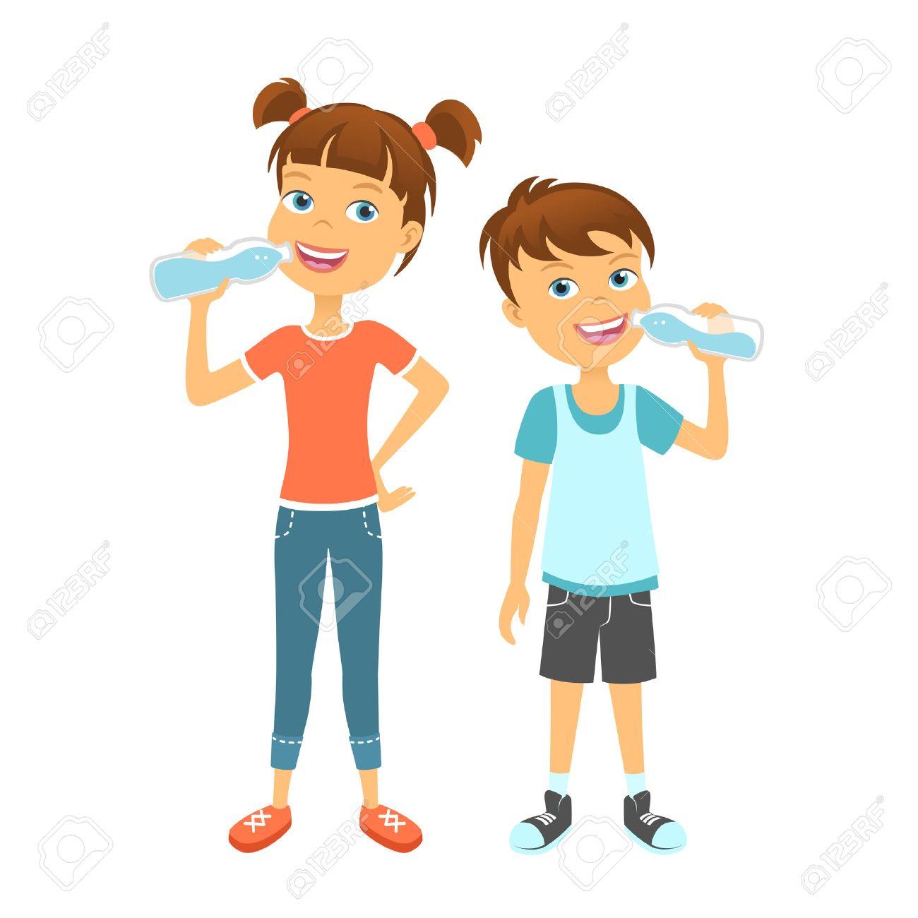 Happy children drinking water. Kids drink water.