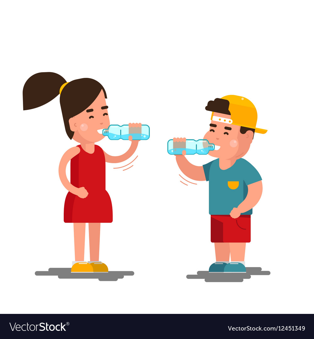 Little boy and girl drinks water Kids drinking.