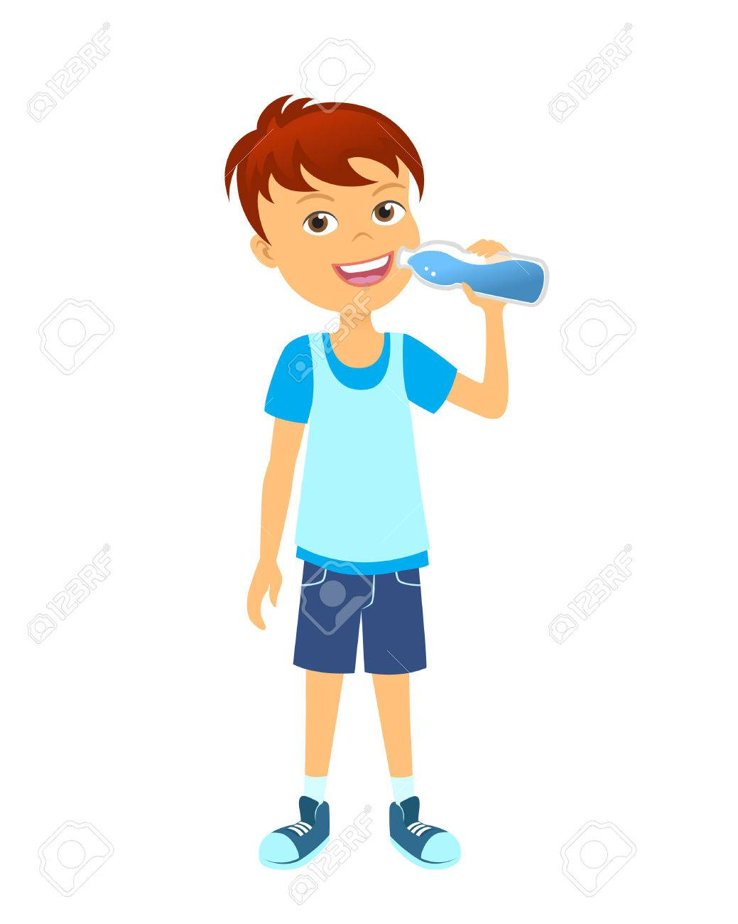 Happy boy with bottle children drinking water.