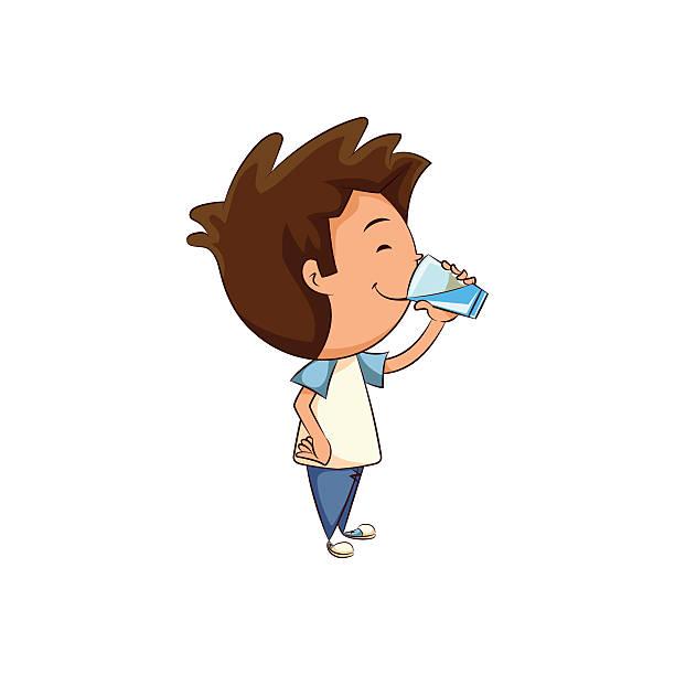 Child Drinking Glass Of Water Vector Art Illustration.