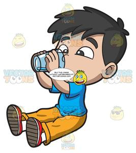 A Thirsty Young Boy Drinking Water.
