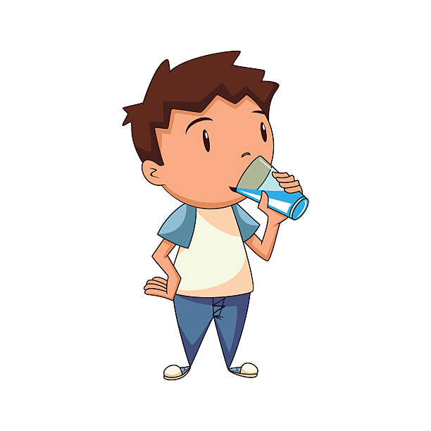 Best Child Drinking Water Illustrations, Royalty.