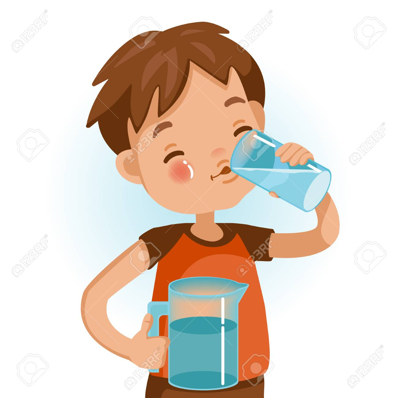 Cute boy in red shirt holding glass of kid drinking water. Emotionally...