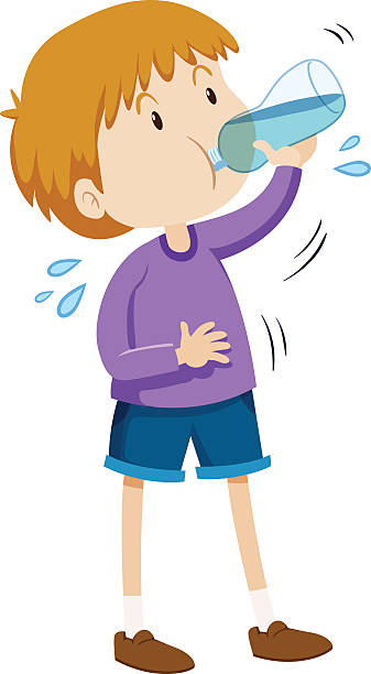 Best Clip Art Of Child Drinking Water Illustrations, Royalty.
