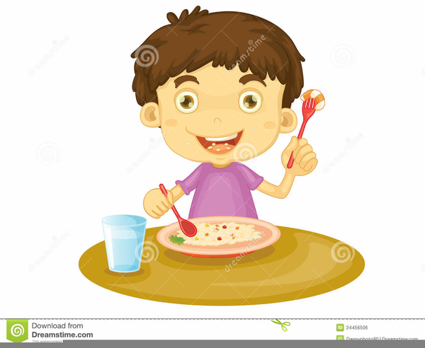 Free Clipart Child Eating Lunch.