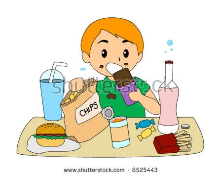 Boy Eating Junk Food Vector Stock Vector 8525443.