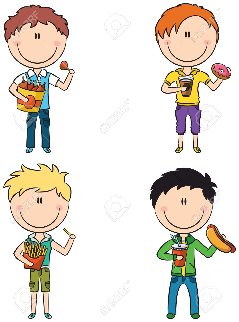 Happy Boys With Different Junk Foods Royalty Free Cliparts.