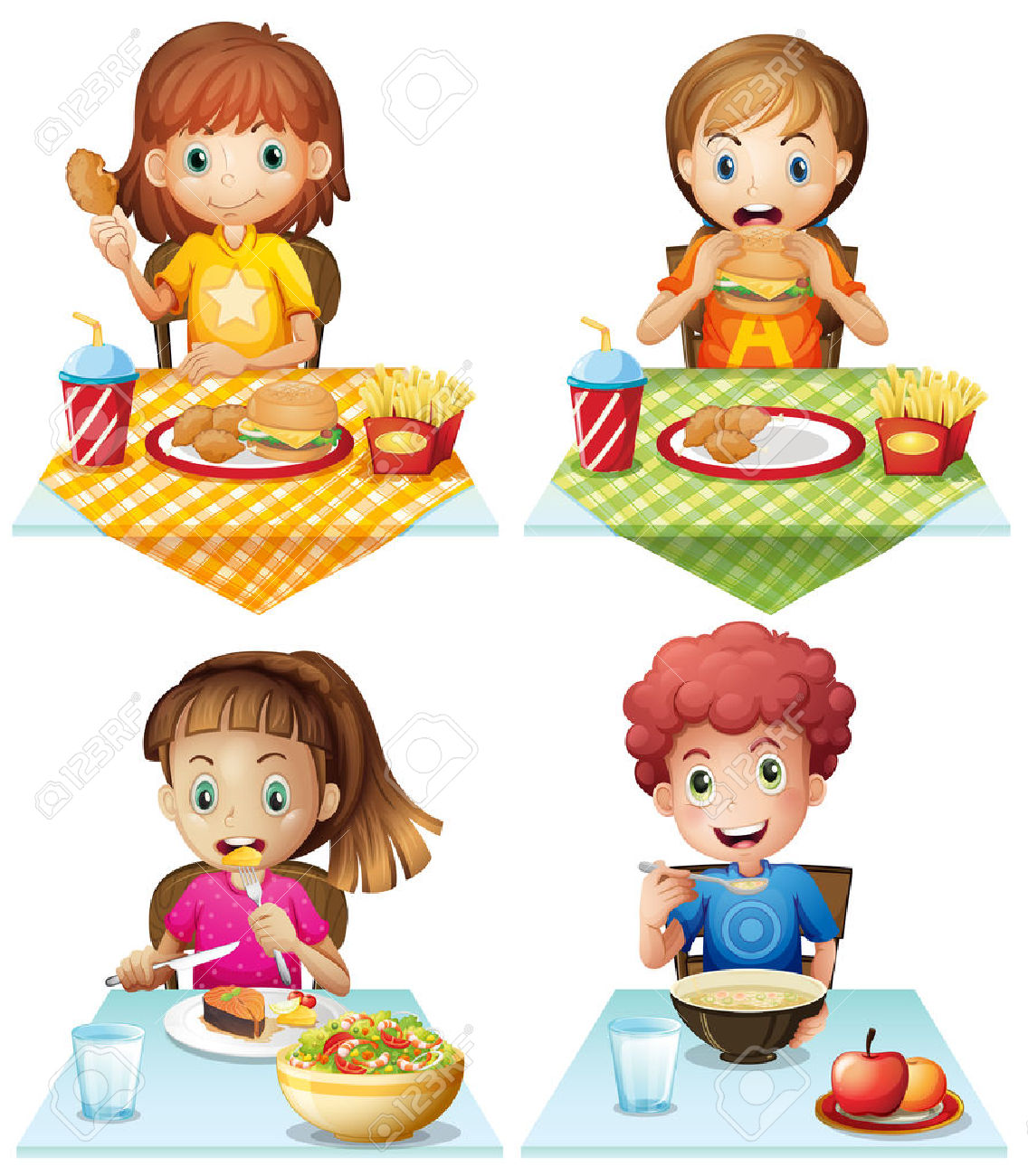 child eating junk food clipart - Clipground