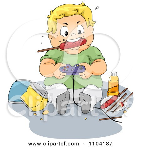 Clipart Overweight Brunette Boy Eating Junk Food At His Computer.