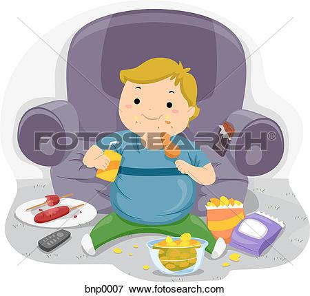 Stock Illustration of Children eating junk food u16297475.