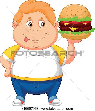 Clipart of Fat girl cartoon smiling and ready k16697581.