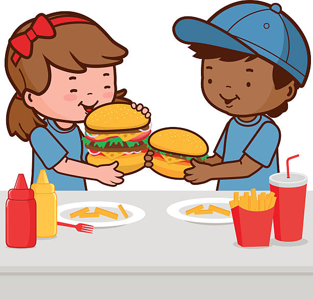 Kid Eating And Drinking At Fast Food Table Clip Art, Vector Images.