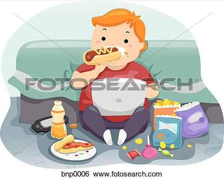 Stock Illustration of A child eating a hot dog while playing on a.
