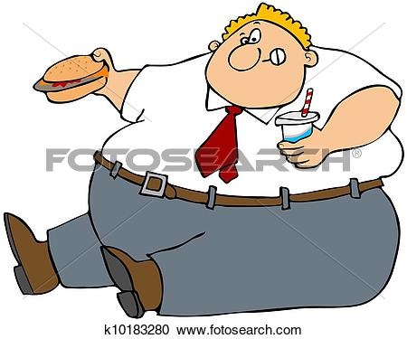 Stock Illustration of A child sitting and eating junk food bnp0007.