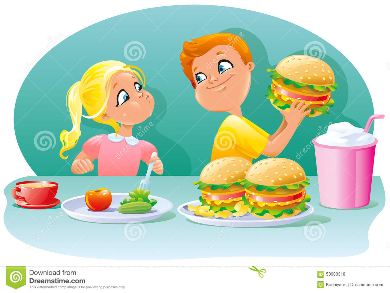 Little Children Boy And Girl Eating Healthy Junk Food Lunch Stock.