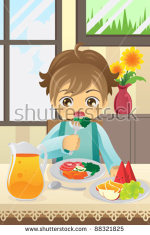 Kids Eating Fruit Stock Images, Royalty.