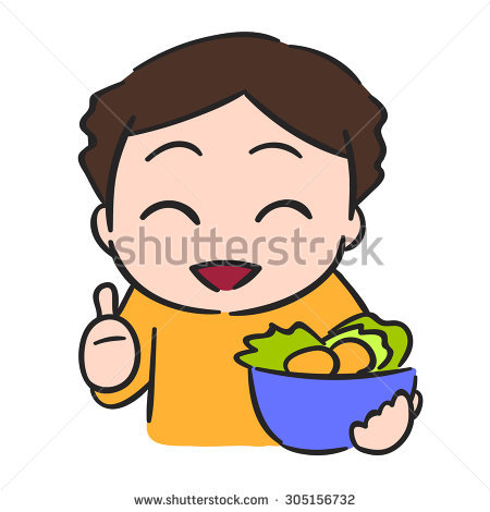 Vector Drawing Kid Eating Cerealcereal Kid Stock Vector 163871282.