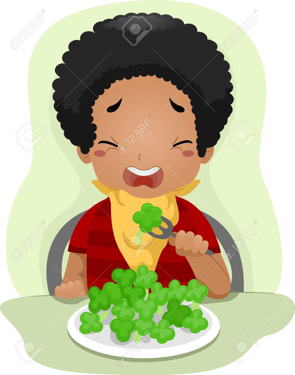 Illustration Of A Kid Eating Vegetables Against His Will Stock.