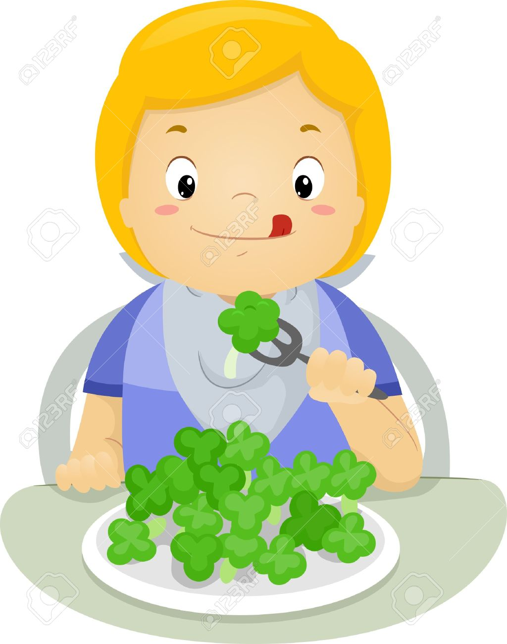 Illustration Of A Boy Eating Brocolli Stock Photo, Picture And.