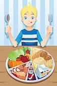 Clip Art of Boy eating vegetables k7783237.