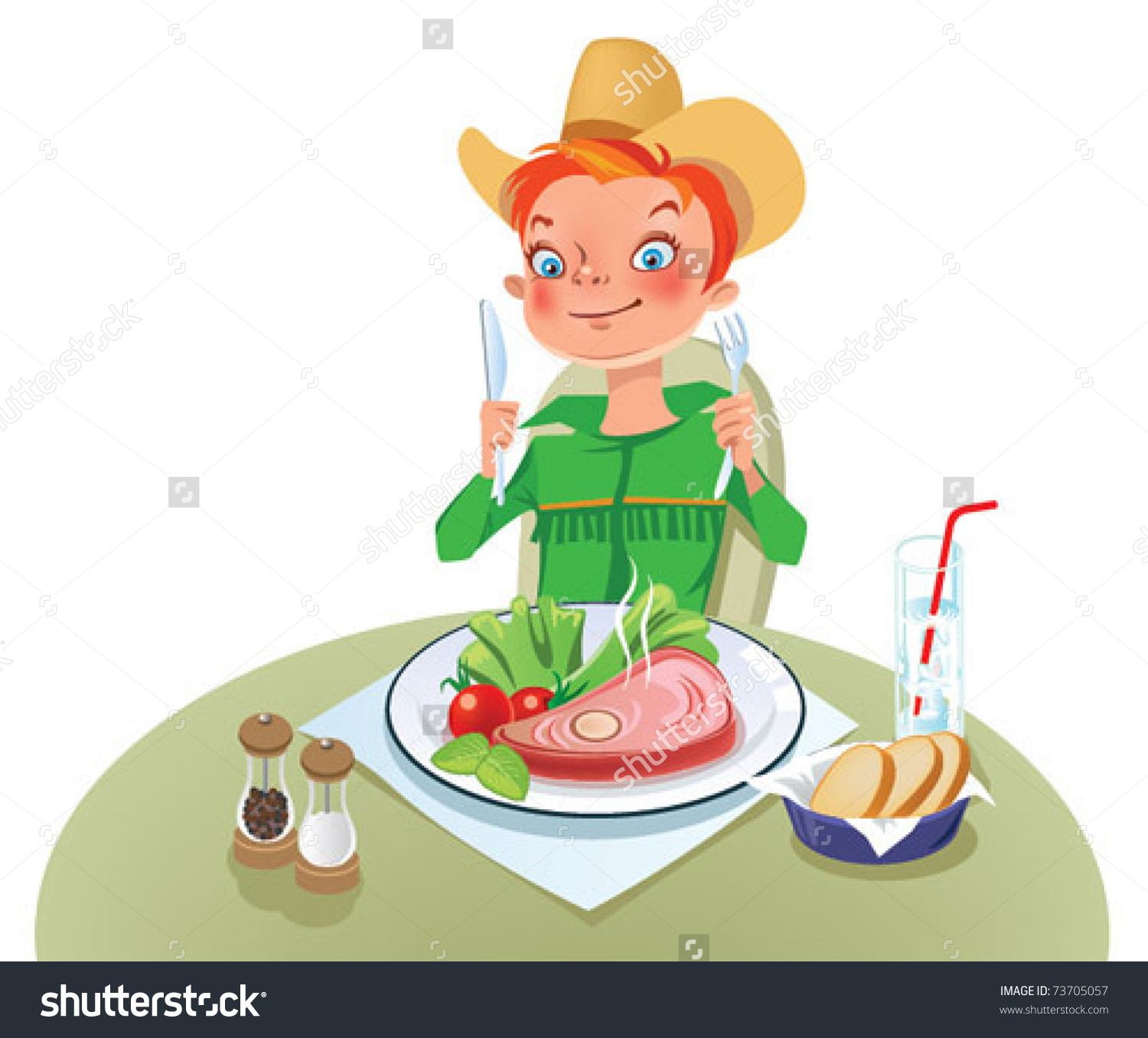 Child Eating Vegetables Stock Vectors & Vector Clip Art.