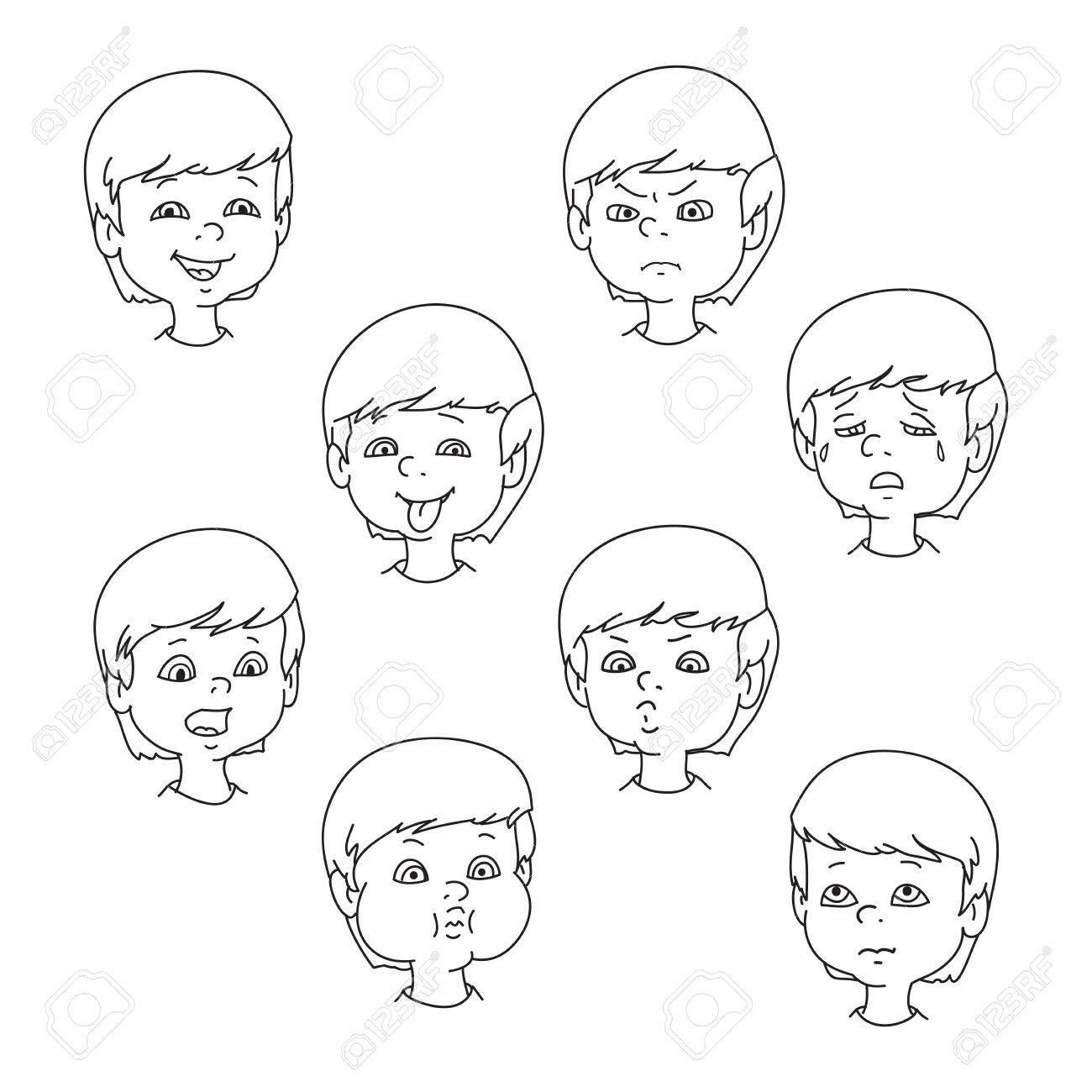 Child face emotion gestures, black and white vector illustration,...