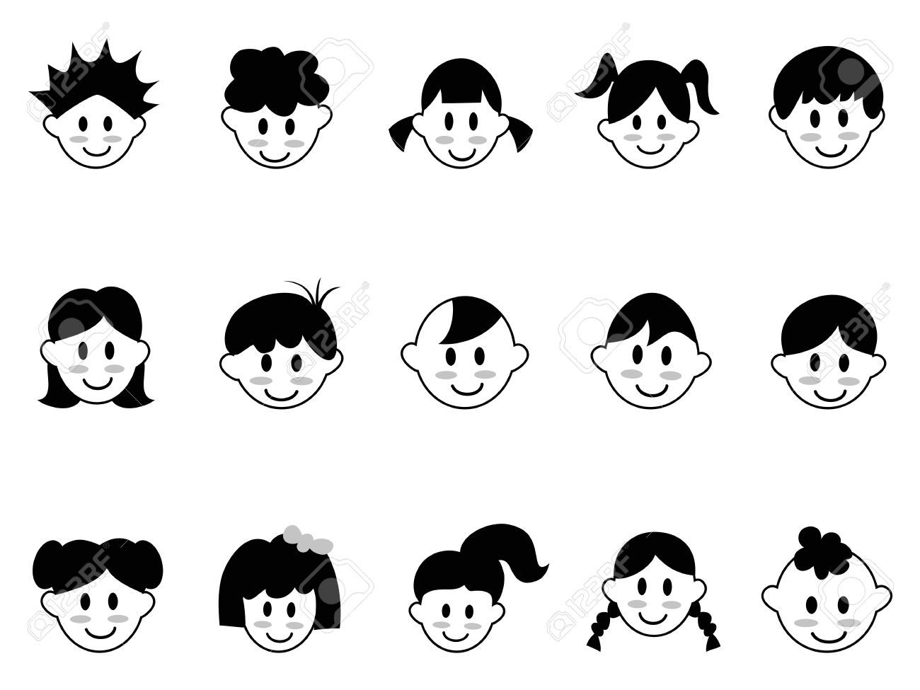 Child face clipart black and white 5 » Clipart Portal.