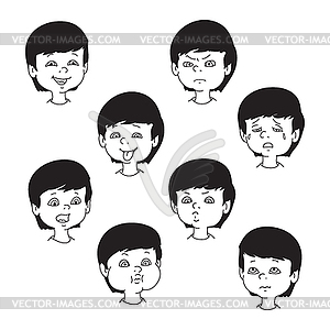 Child face emotion gestures, black and white.