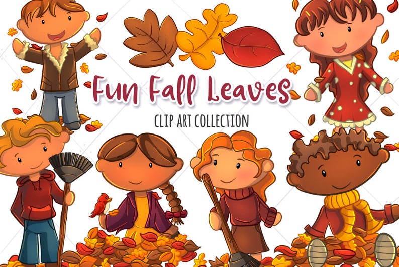 Kids Playing in Fall Leaves Clip Art Collection, Falling Leaves, Fall  Clipart, Cute Fall Clip Art, Cute Kids Playing in the Leaves.